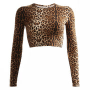 Autumn and winter new leopard print T-shirt female sense tight short paragraph navel long-sleeved bottoming shirt
