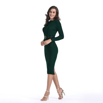 Long-sleeved knit dress female solid color with belt Slim sexy bag hip pencil skirt