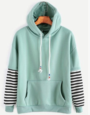Hot autumn sale new style hooded hooded stripe sleeved sweater