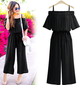 Open-shoulder Strap Pleated Tight Waist Wide Leg Jumpsuit