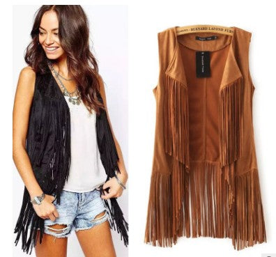 Ethnic Sleeveless Tassels Fringed Cardigan Vest