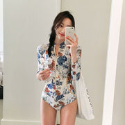 2018 New South Korean printing one-piece swimsuit conservative small chest gathered thin sexy triangle piece swimsuit
