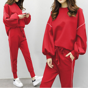 Loose hooded sweater elastic waist pants casual ins super fire sports suit women