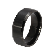 Solid Ring Stainless Steel Svart Strlk 12 (US size)