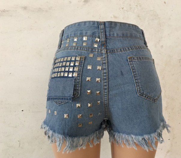 Women's ripped jeans baggy shorts rivet hot pants