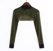 Semi-high collar Solid color long-sleeved blouse