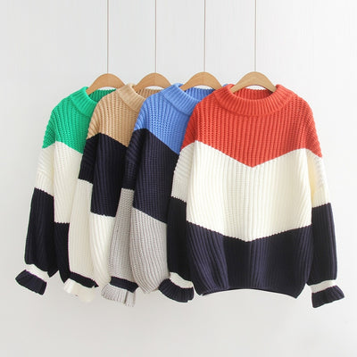 Contrast thick line loose hedging long long thick knit sweater