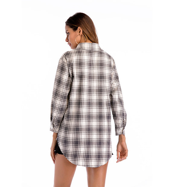 Irregular long-sleeved plaid shirt women's long loose casual shirt