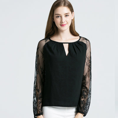 Cross-border special for new hollow-out long-sleeved T-shirt, lace crocheted round-necked T-shirt, women''s T-shirt, European and American loose bottom shirt