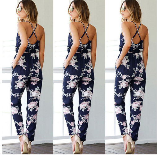 Printed jumpsuit trousers