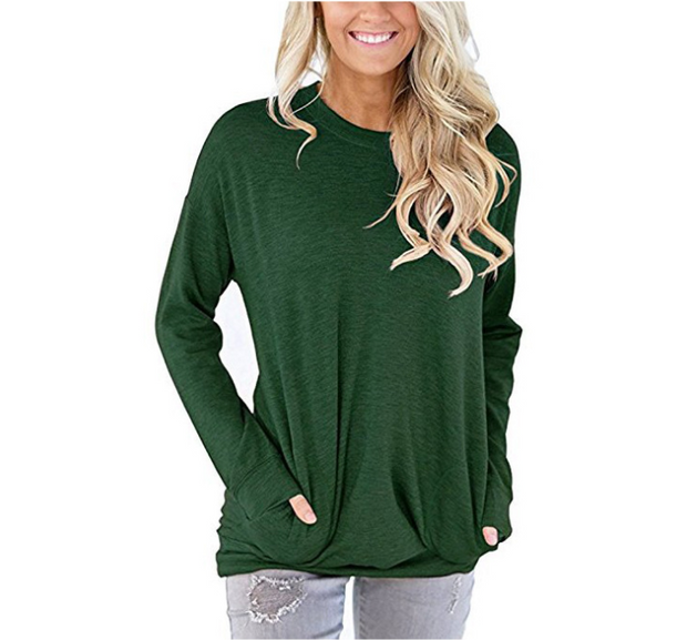 New round neck long sleeve Solid color T-shirt