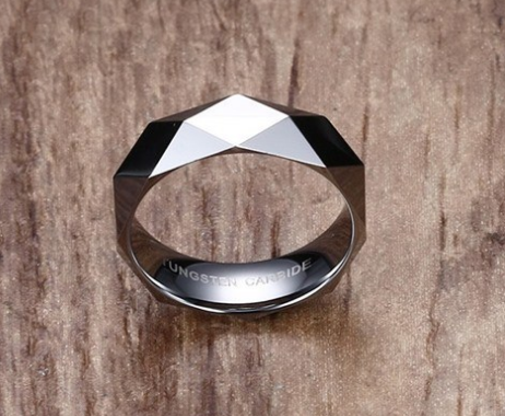 Japan and South Korea 6MM Prism Cut Tungsten Steel Ring Trend