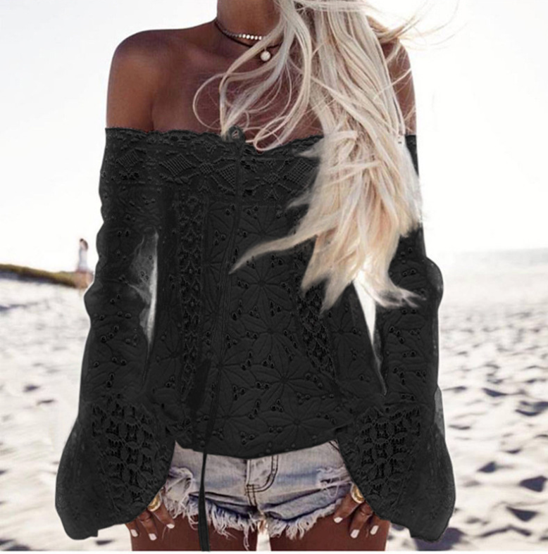 Off-the-shoulder Fringed Lace Stitching Blouse