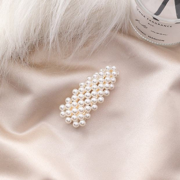 Pearl hairpin simple and practical personality triangle side clip