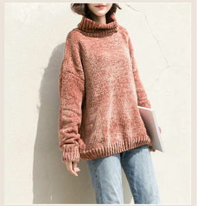Autumn New Tertle Neck Velvet Sweater
