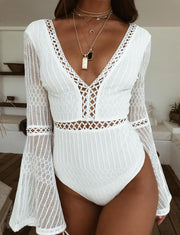 White long-sleeved lace stitching low-cut V-neck cutout zipper jumpsuit