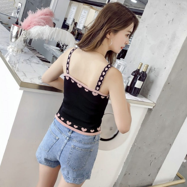 Slim and slim heart-shaped color matching wild knit vest