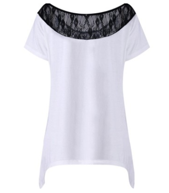 Women's large size jacket lace stitching printing loose short-sleeved round neck women's T-shirt