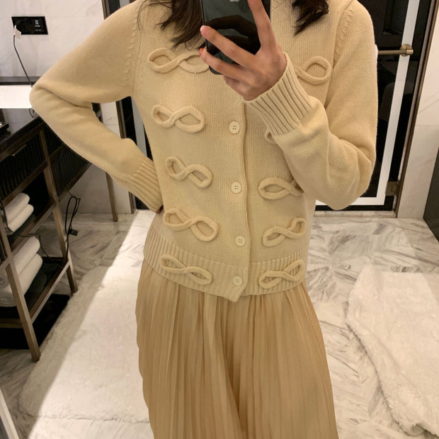 Hand-sewn wool bow tridimensional decorative wool blended long-sleeved knitted cardigan loose dress for women
