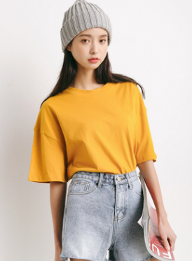 Women Fashion Loose Plain Color T-shirt