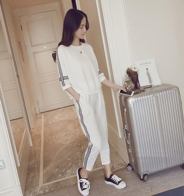 Two-sleeve short-sleeved cropped trousers