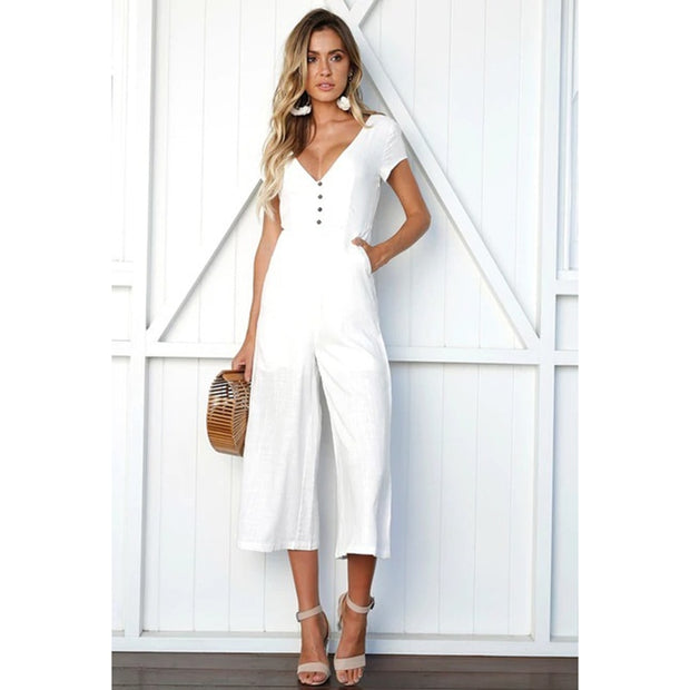 Women V-neck Fashion Casual Jumpsuit