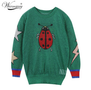 Ladybug butterfly five-pointed star pattern gold silk female sweater