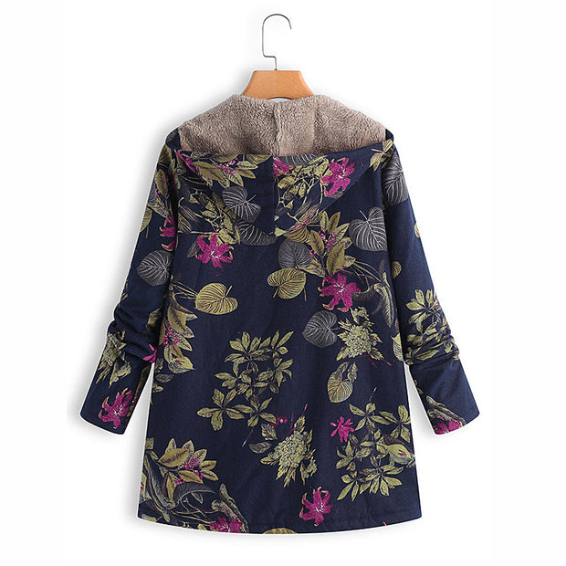 Europe and the United States new women's cotton and linen printed hooded sweater warm plush jacket