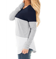 Striped stitching long sleeve pregnant women breastfeeding top T-shirt