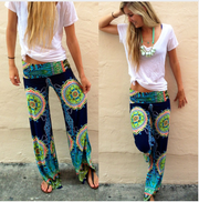 sexy Women printed Floral Wide Leg Long Stretch Pants Loose Trousers swimming pants