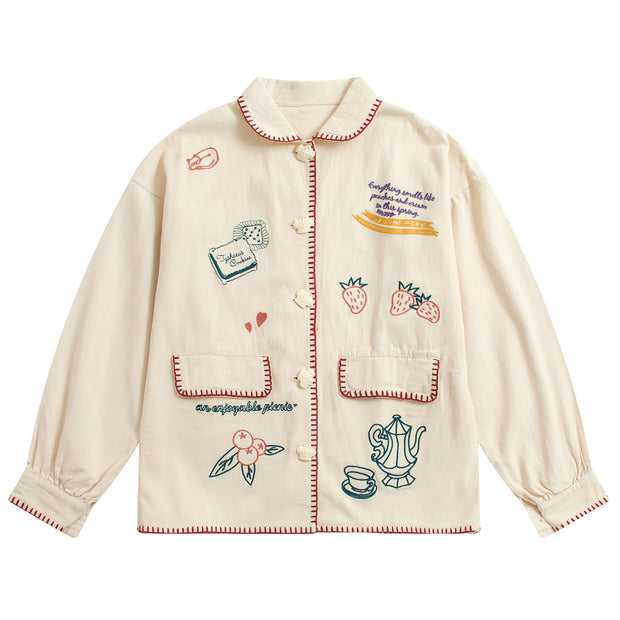 Multi-embroidered Double Pocket Jacket
