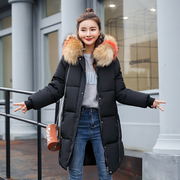 Winter new Slim cotton clothing women's long section thick fur collar down coat cotton anti-season cotton jacket