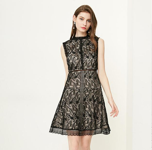 New female hollow lace dress