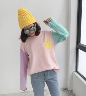 Loose Fit Macaron Color  Long Sleeves O-Neck Shirt