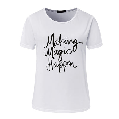 Round neck letter printed slim t-shirt