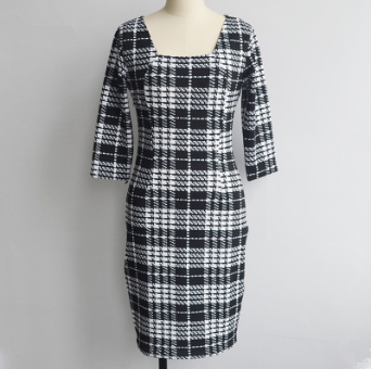 Women Formal Square Neck Plaid Pencil Dress