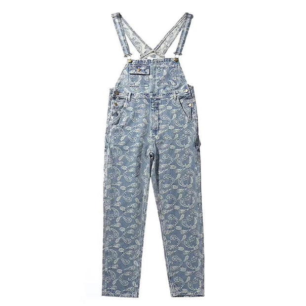 Cashew Flower Jacquard Retro Hip Hop Denim Overalls