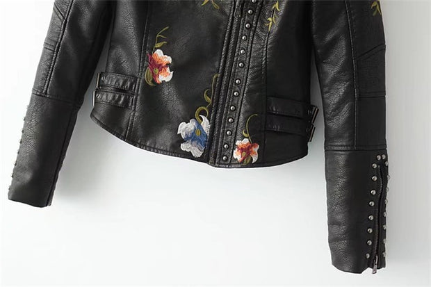 Embroidered rivet stitching coat motorcycle jacket slim short leather