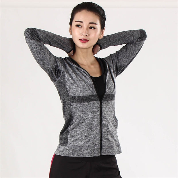 Ladies Fitness Running Quick Drying Long Sleeve Tops Zip Hoodie Breathable Slim Yoga Wear Hooded Jacket
