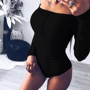 Off Shoulder Long-sleeved Tight-fitting Bodysuit