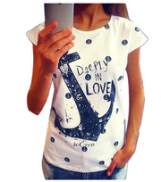 Anchor printed loose round neck short sleeve female t-shirt