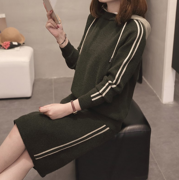 Women's Two-Piece Fashion Hooded Sweater and Hip Skirt