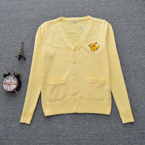 Pokermon Pikachu Preppy Style Women's Unisex V-Neck Winter Sweater Yellow Japanese School JK Uniform Long Sleeve Sweater