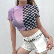 2019 summer new Amazon cross-border ins contrast color checkerboard stitching mesh breathable short-sleeved T-shirt one generation