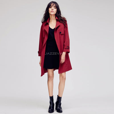 Autumn New Fashion Women's Casual  stitch trench coat brief business Formal Outwear With Belt