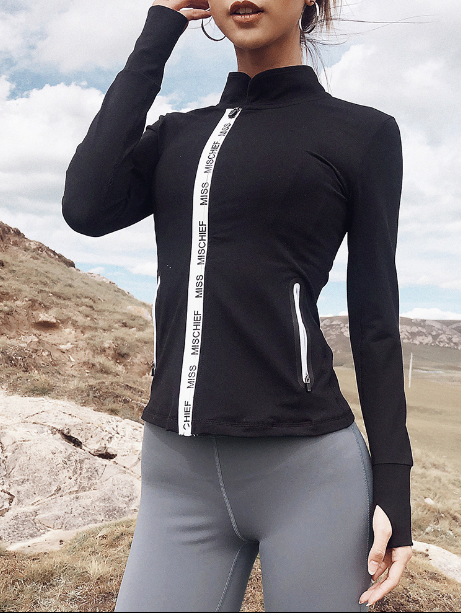 Tight-fitting Long Sleeve Zipper Sports Jacket