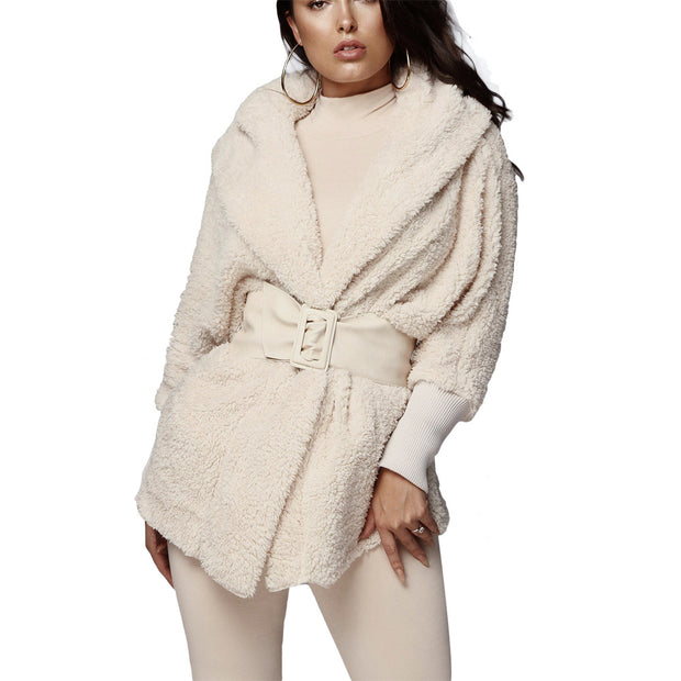 Adogirl Women Fleece Plush Casual Two Piece Set Long Sleeve Hooded Cardigan Coat Autumn Winter Outwear + Shorts Fashion Outfits