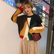 Autumn Korean version of the loose wild color matching pullover sweate