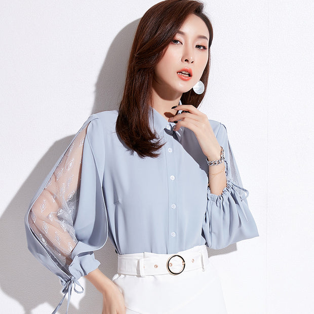 Casual Summer Long Sleeve White Chiffon Blouse