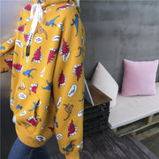 2018 autumn new Japanese sweet student loose coat small dinosaur print hooded sweater casual blouse